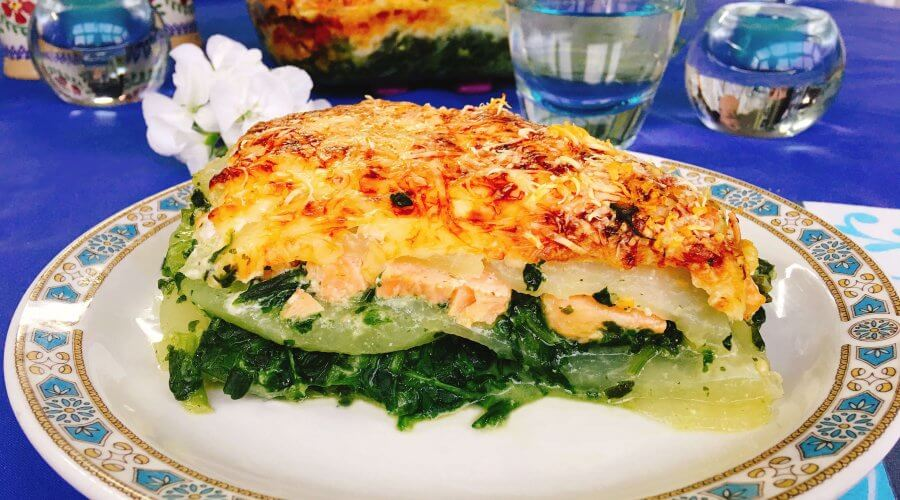 kohlrabi lasagne mit lachs und spinat schnelle low carb rezepte. Black Bedroom Furniture Sets. Home Design Ideas